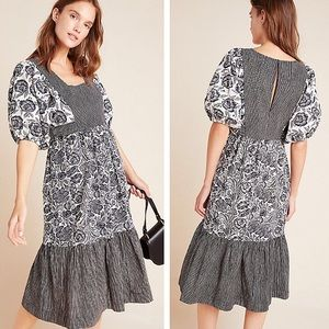 NWT Anthropologie Adrienne Flounced Midi Dress